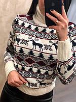 Теплый  женский вязаный свитер с рисунком,белый.Турция, фото 1