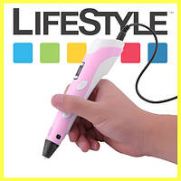 3D ручка 2 поколения для рисования С LCD Дисплеем + Подарок (Монопод) Розовый