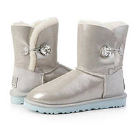 Женские зимние угги UGG AUSTRALIA - bailey button bling whitе, фото 1