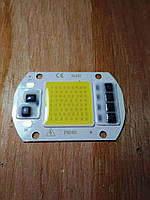 Cветодиод LED 50Вт/220В белый 6000К-6500К, с драйвером на подложке, питание 220В, 5000Lm