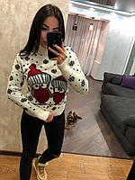 Жіночий в'язаний зимовий светр,білий.Туреччина, фото 1