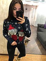 Женский вязаный зимний свитер,синий.Турция, фото 1