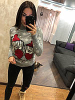 Женский вязаный зимний свитер,серый.Турция