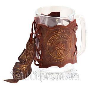 Бокал для пива Макей  в кожаном футляре (531-07-03)