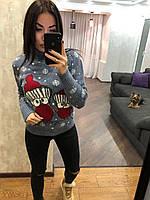 Жіночий в'язаний зимовий светр,блакитний.Туреччина, фото 1