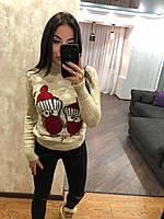 Жіночий в'язаний зимовий светр,бежевий.Туреччина, фото 1