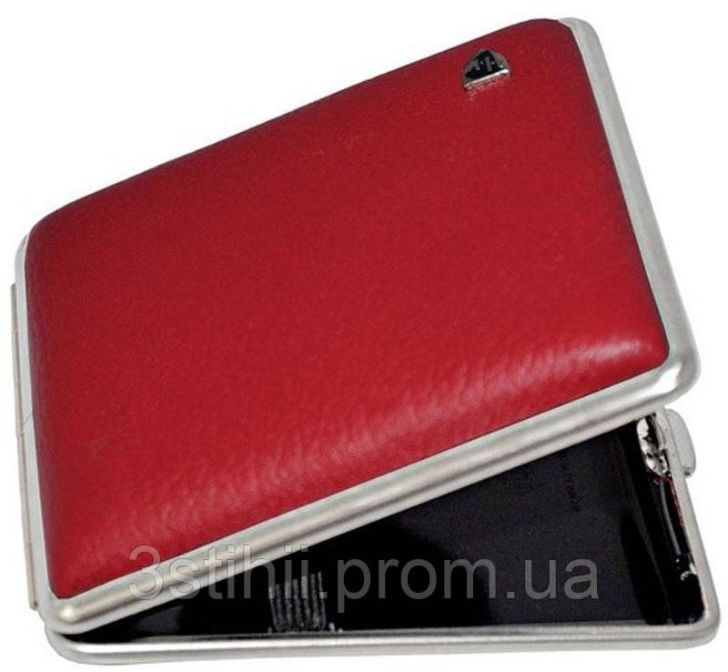 Портсигар VH 901212 для 18 KS сигарет кожа матовая Красный