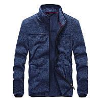 Теплая мужская кофта с воротником стойкой темно-синяя
