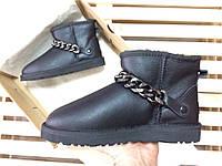 Женские зимние угги UGG AUSTRALIA - classic mini new metallic black, фото 1