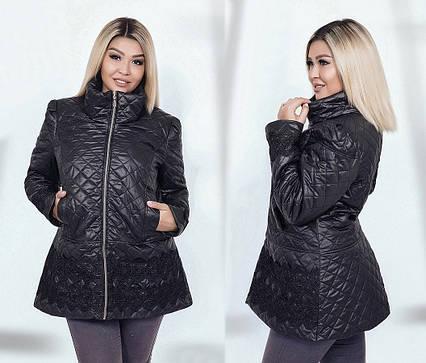 """Стильная женская куртка на синтепоне в больших размерах 4400-1 """"Плащёвка Стёганка Кружево"""""""