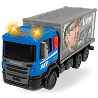 Грузовик для дорожных работ со светом и звуком, Dickie Toys, с контейнером UVEX 374 2008-2