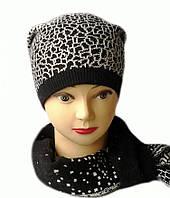 Стильная женская шапка и шарф комплект Лина черного цвета