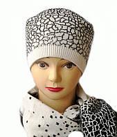 Стильная женская шапка и шарф комплект Лина белого цвета