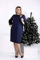 Женское синее элегантное платье с кружевом на рукавах 0991 / размер 42-74 / большие размеры