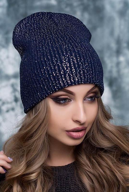 Темно-синя жіноча шапка Крус