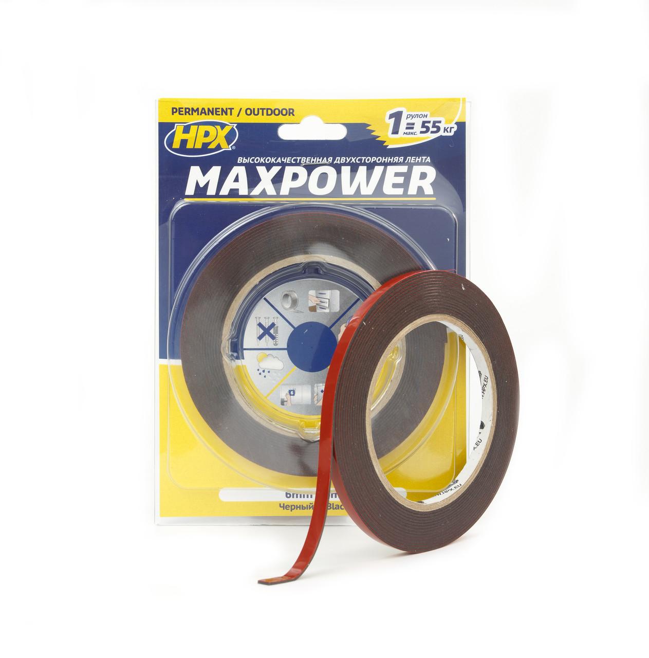 MAXPOWER OUTDOOR - черная двусторонняя лента (скотч) для экстремальных нагрузок - для наружных работ