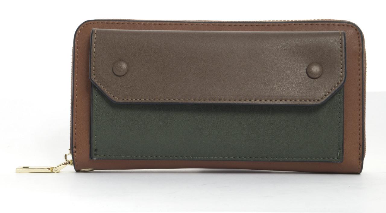 Стильный интересныйудобный женский кошелек барсетка высокого качества FUERDANNI art. C6013 коричневый