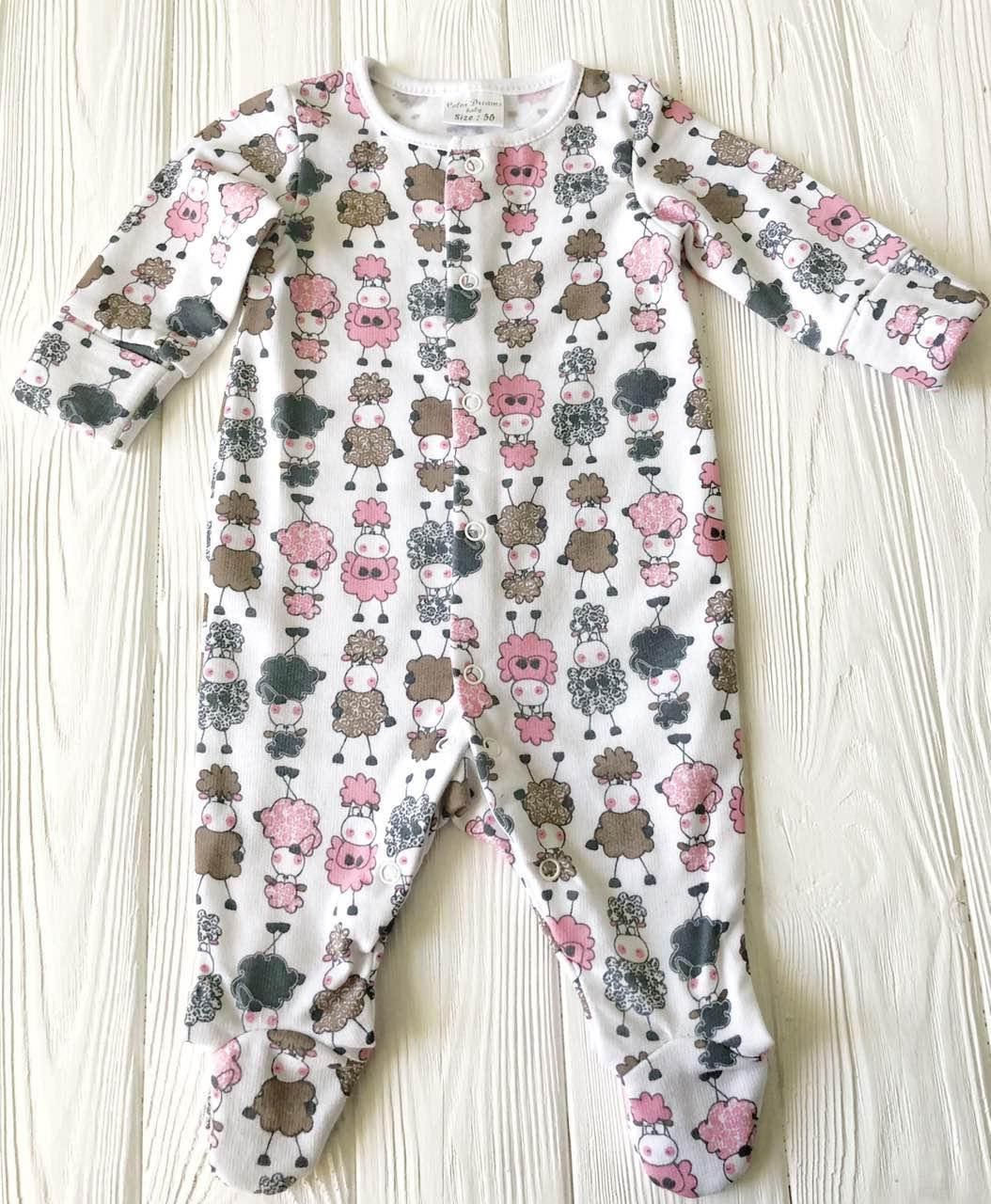 """Человечек для новорожденного Хлопковый  """"Гламурные овечки """""""