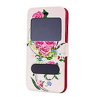 Чехол-книжка Flower Case 2 Windows Style для Samsung Galaxy J2 SM-J200 Tea Rose White