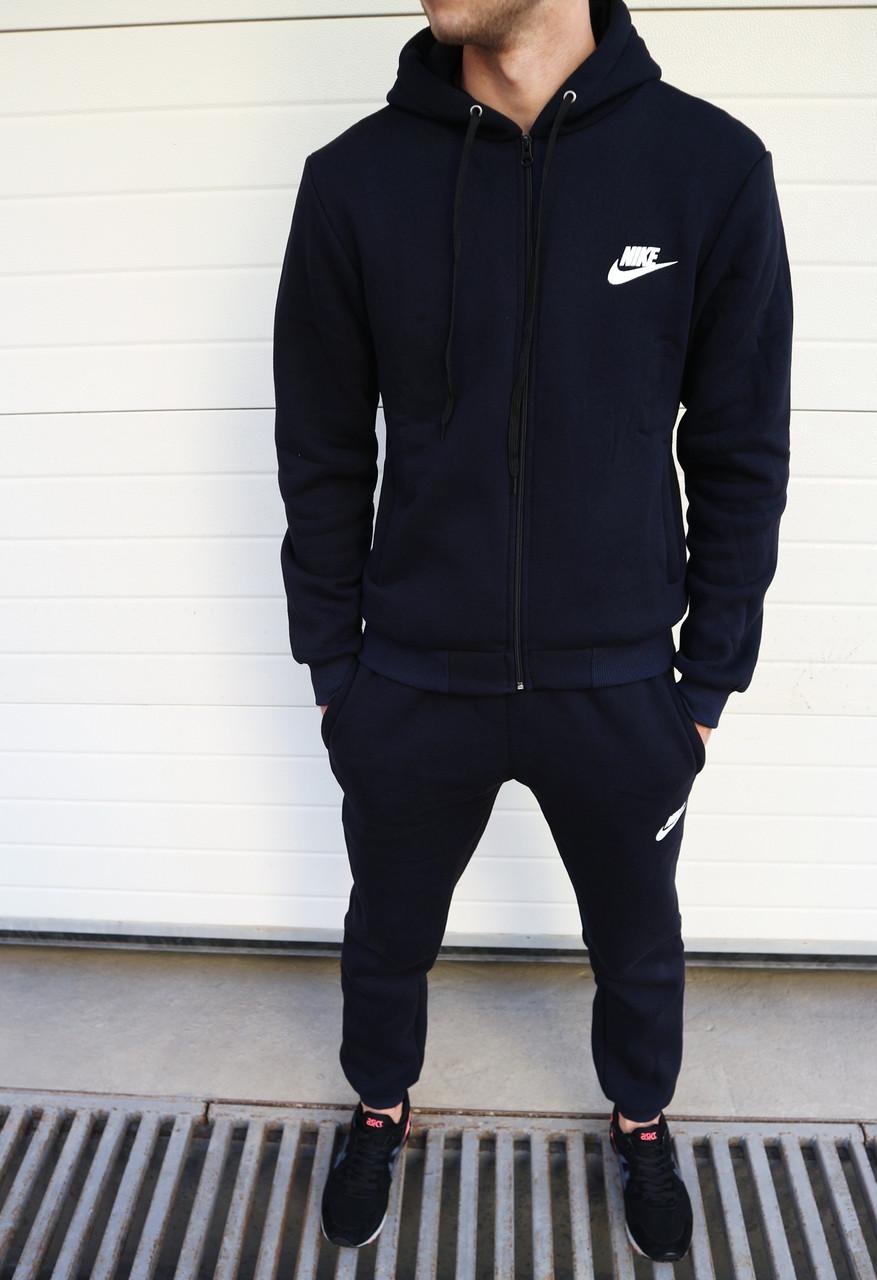 3294c434e84a Мужской спортивный костюм Nike на флисе темно-синий топ реплика -  Интернет-магазин обуви