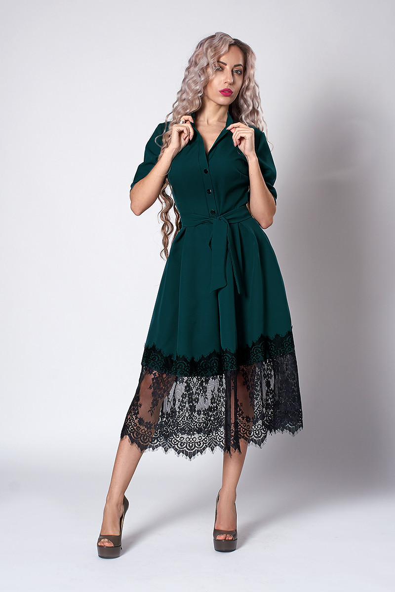Платье  мод 713-7 ,размер 50,52 бутылочное