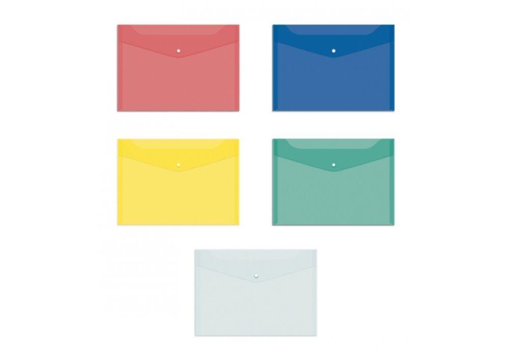 Папка-конверт A5, на кнопці, прозора Economixі, синя Е31316-02