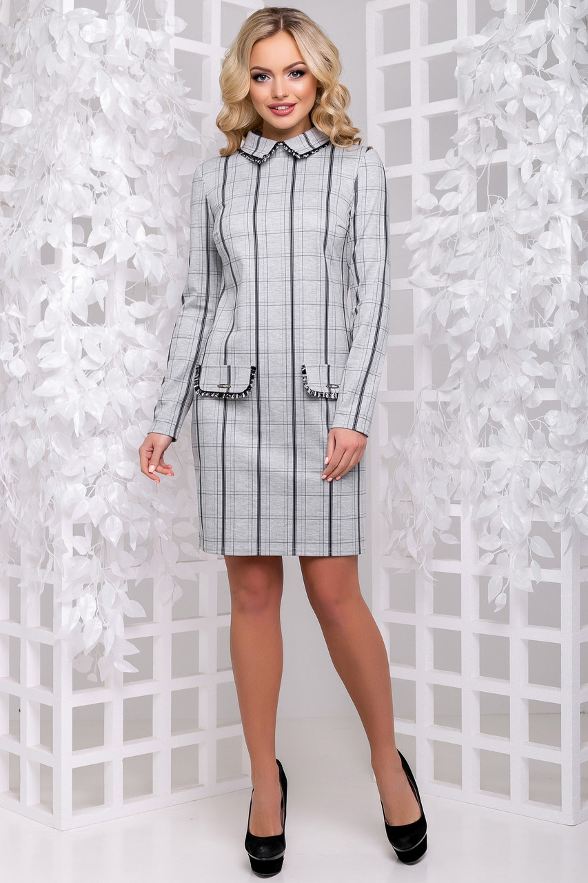 907fabaf94d Элегантное Офисное Платье в Клетку с Воротничком Серое М-2XL - Ukraine In  Trend -
