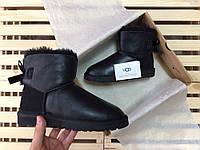 Женские зимние угги UGG AUSTRALIA - mini bailey bow II metallic black, фото 1