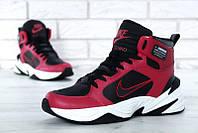 """Кроссовки мужские кожаные утепленные Nike m2k Tekno Black/Red """"Красные с черным"""" найк м2к текно"""