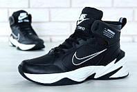 """Кроссовки мужские кожаные утепленные Nike m2k Tekno Black/White """"Черные с белым"""" найк м2к текно"""
