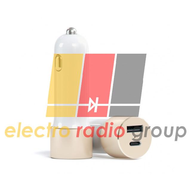 Автомобильная зарядка гн.USB type C +гн.USB, 3.1А
