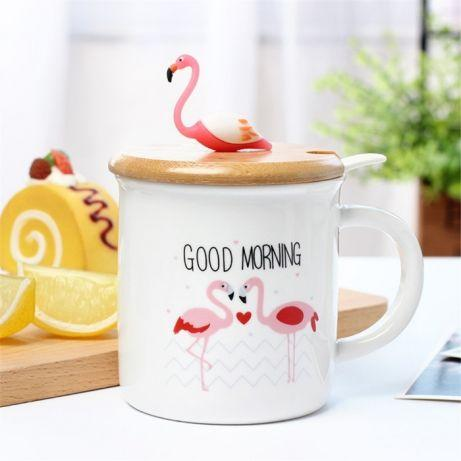 Чашка керамическая Фламинго с крышкой и ложкой