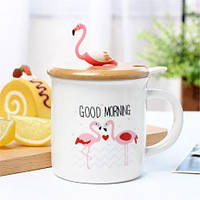 Чашка керамическая Фламинго с крышкой и ложкой, фото 1