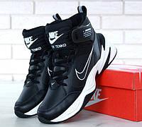 """Кроссовки мужские высокие Nike m2k Tekno Black/White """"Черные с белым"""" утепленные высокие р. 41-45"""