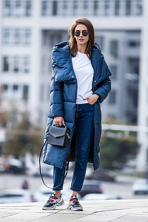 Зимняя женская курточка KTL-306 из новой коллекции 2018-2019 - синяя (#540), фото 2