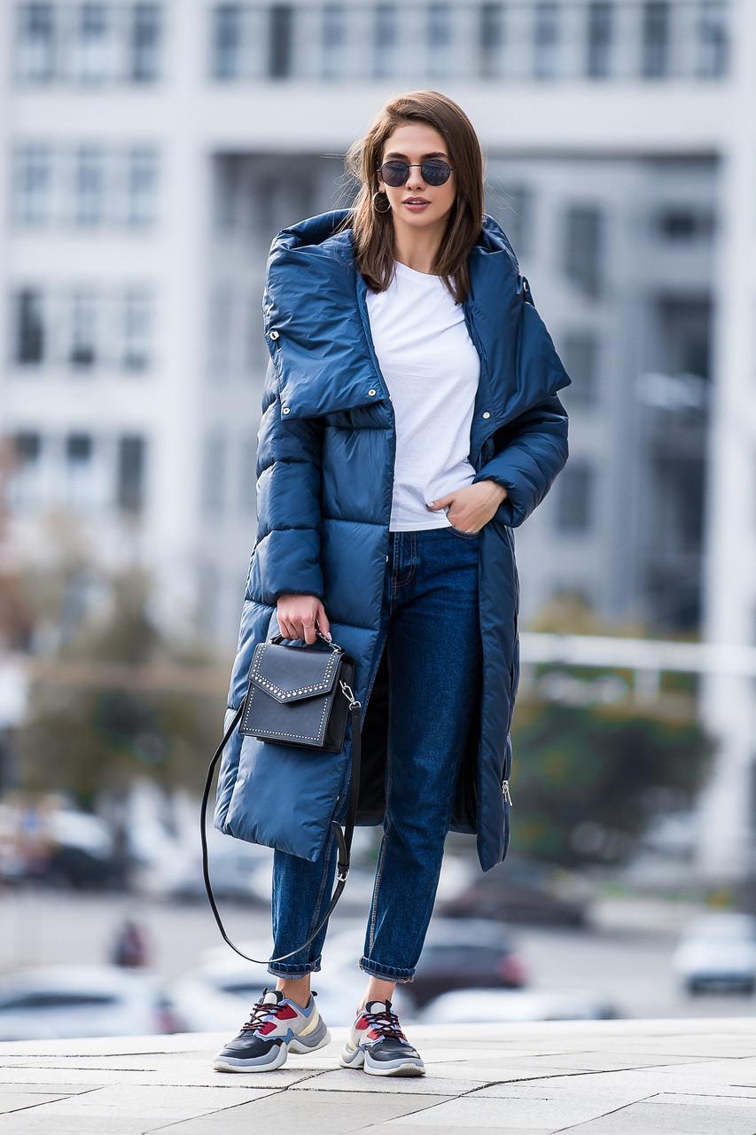 Зимняя женская курточка KTL-306 из новой коллекции 2018-2019 - синяя (#540)