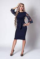 Платье мод №704-7, размеры 54 темно-синее