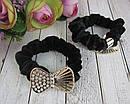 Бархатные резинки для волос с украшением в стразах черные 12 шт/уп, фото 4