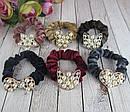 Бархатные резинки для волос с жемчугом цветные 12 шт/уп, фото 2