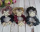 Бархатные резинки для волос с жемчугом цветные 12 шт/уп, фото 3