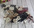 Бархатные резинки для волос с жемчугом цветные 12 шт/уп, фото 4
