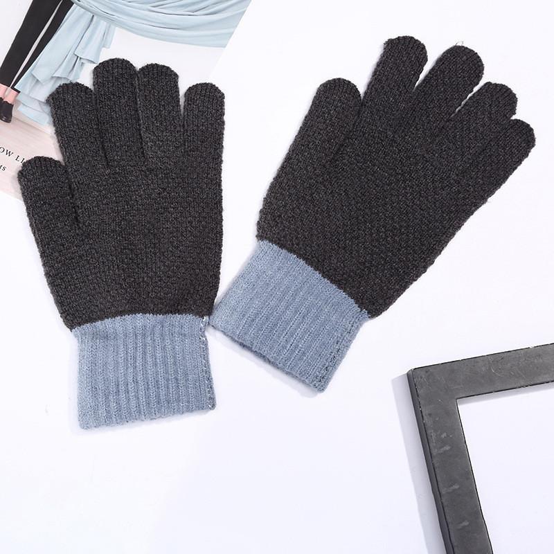 Теплые шерстяные перчатки для мужчин и женщин унисекс серые опт