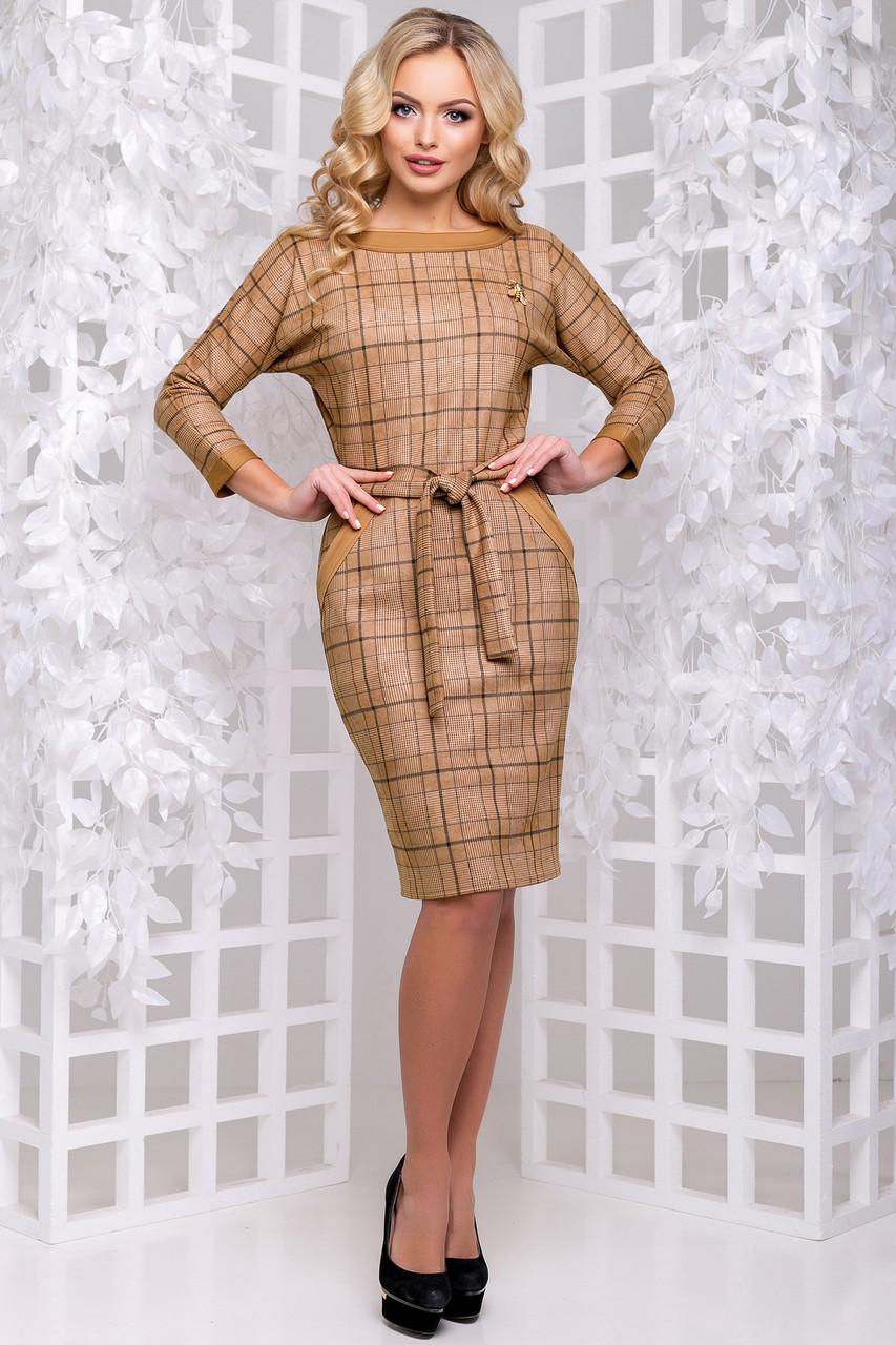 c3aadb729ef Элегантное Деловое Платье из Экозамши Коричневое в Клетку M-2XL - Ukraine  In Trend -