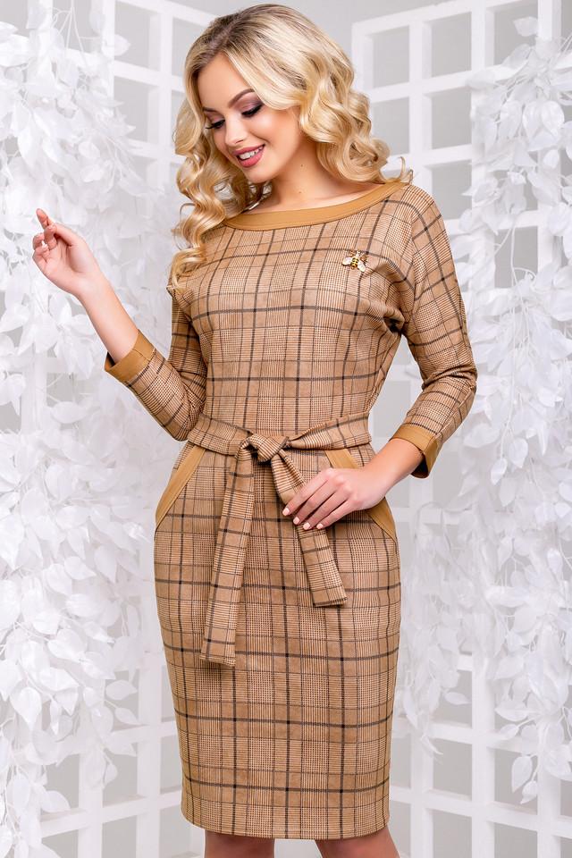 bfa3c500759 Приятный коричневый цвет платья в крупную клетку смотрится очень гармонично  и женственно. Качественная