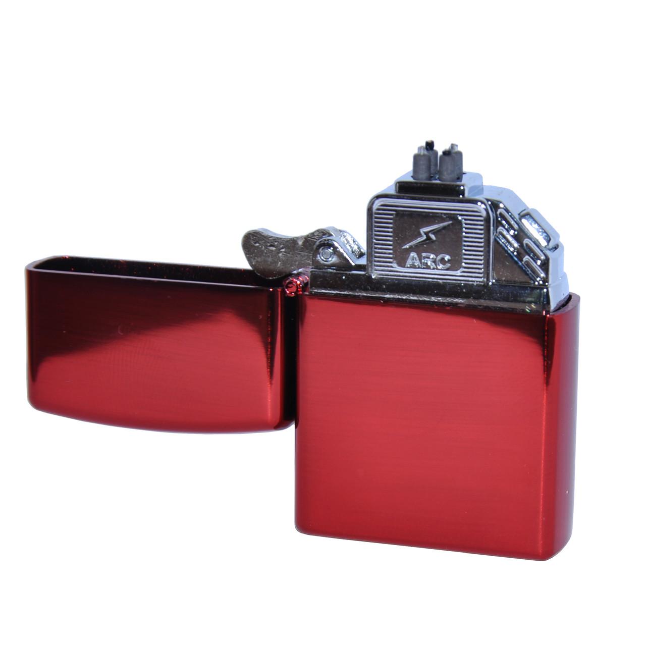 Электроимпульсная USB зажигалка в стиле ZIPPO красная с двойной электро дугой в подарочной коробке