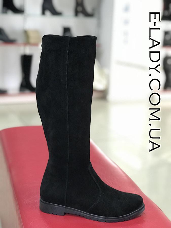 7309d80df Черные зимние сапоги из натуральной замши без каблука - Интернет-магазин  стильной женской обуви и