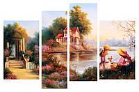 Модульная картина Декор Карпаты 110х70 см Домик на берегу (M4-К44)