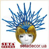 Корона Снежная королева на голову новогодняя синяя на обруче