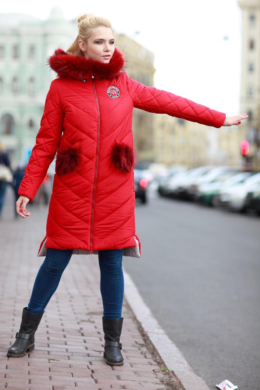 Пальто зимнее женское с мехом енота и клапанами на карманах съемными 42-48