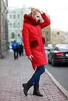 Пальто зимнее женское с мехом енота и клапанами на карманах съемными 42-48, фото 3